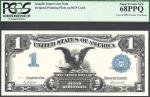 $1 1896  SILVER CERT=FRONT= BLACK EAGLE= INTAGLIO=PCGS  SUPERB GEM New 68 PPQ