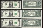 $1 1988-A FRN=3 CONSECUTIVE NOTES=CUTTING ERRORS=CHOICE UNCIRCULATED