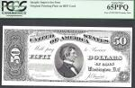 $50 1890 Treasury Note==FRONT= MARSHALL= INTAGLIO==PCGS Superb Gem New 65 PPQ