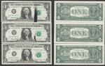 $1 1974=INK SMEAR=3 CONSECUTIVE=2 WITH SMEARS=CHOICE UNCIRCULATED