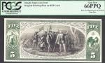 $5 NATIONAL NOTE=LANDING OF COLUMBUS=BACK= INTAGLIO=PCGS  Gem New 66PPQ