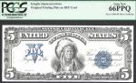 $5 1899= SILVER CERTIFICATE=FRONT= CHIEF= INTAGLIO=PCGS  GEM New 66PPQ