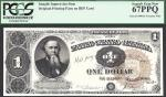 $1 1890 Treasury Note==Stanton==FACE INTAGLIO==PCGS Superb Gem New 67 PPQ